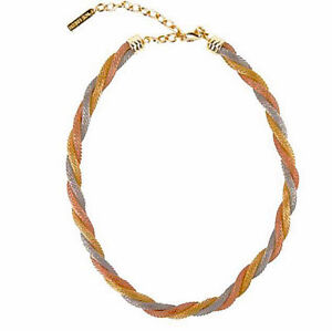 NEW never used Tri- Gold Tone Twist Mesh Necklace in gift box