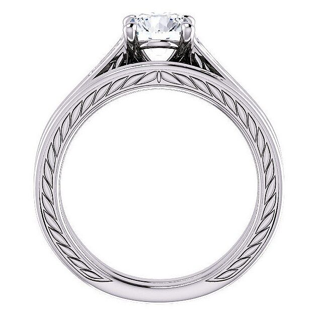 0.50 Ct Round Cut Solitaire Diamond Filigree Engagement Ring Set F,SI1 GIA 1