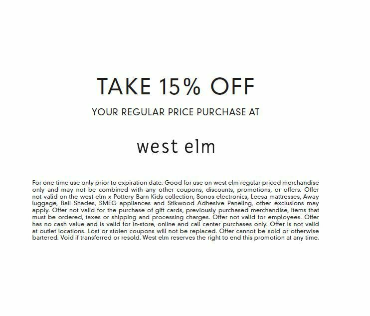 WEST ELM 15 OFF COUPON ON FULL PRICE ITEMS EXP. 1/14/21 FAST E-DELIVERY  - $14.95