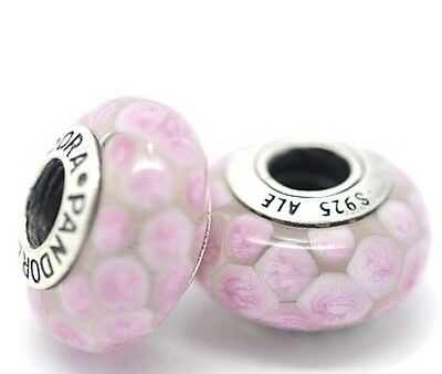 Pandora Murano Glass Charm Pink Bubbles Bead Sterling Silver 925 ALE New