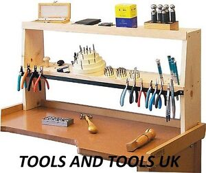 Jeweler's Bench Shelf Wood Stand Workstation Organizer Tools Beads Blocks Pliers