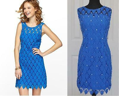 Clearance Lilly Pulitzer (Clearance!! NEW $378 Lilly Pulitzer Shiloh Blue Lace Shift Dress Cotton 0 2 XS)