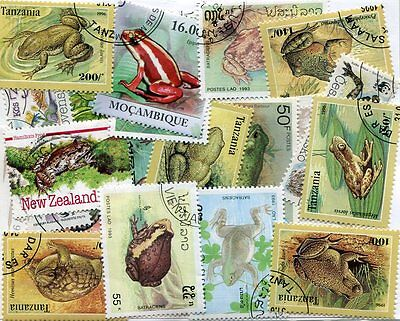 EXOTIC COLLECTION OF FROG AND TOAD STAMPS - 25 DIFFERENT - NO DUPLICATES!