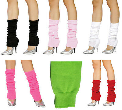 Neon Leg Warmers (Knee High Knit Leg Warmers Thick Neon 80s Retro Dance Holiday Costume)