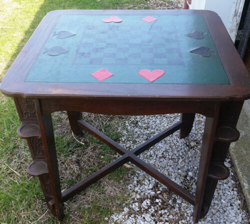 ROMWEBER LEATHER TOP OAK GAME/CARD TABLE