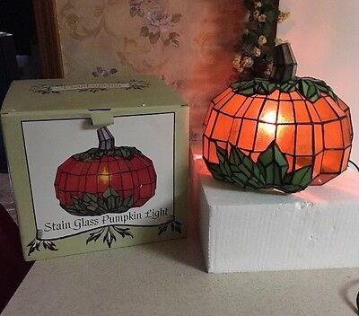 Pumpkin Stained Glass Table Lamp Thanksgiving Halloween Harvest Fall Decor Light