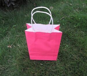 48 Bulk Kraft Paper Gift Carry Shopping Bag 22x16x8cm Pink
