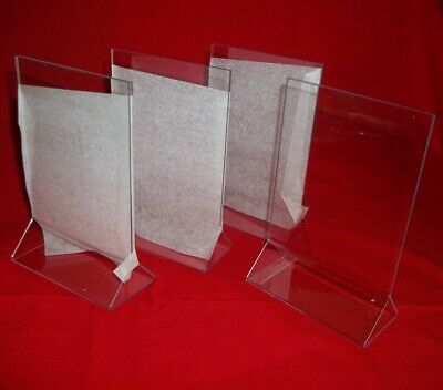 "Four  Acrylic Double Sided Table Sign Holders - Table Tents 4""W x 6""H - New! Table Tents Holders"