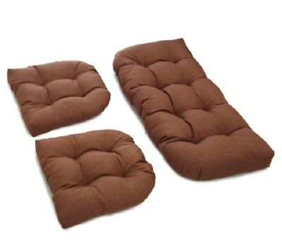 Outdoor All Weather 3pc Wicker Settee Chair CUSHION SET Medium Brown Solid ()