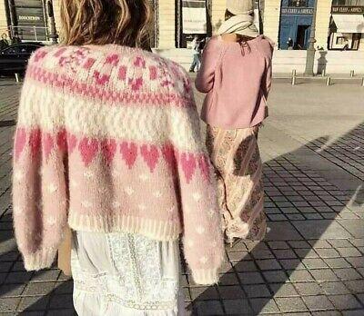 NEW LoveShackFancy *Style* Jamie Pink Heart Sweater Cardigan Size Med Large Wool