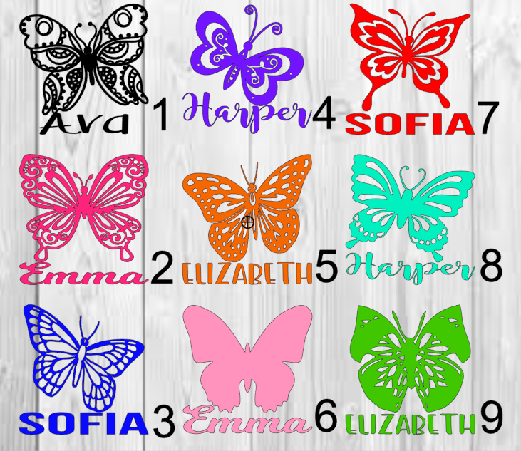 Home Decoration - Personalized Butterfly Monogram or Name Vinyl Decal Approx. 3inchx3inch