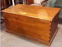 Large Shabby Pine Storage Trunk Blanket Box Or Chest With Iron Handles