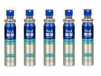 5 x Nuage Mens Shaving Oil With Menthol Cool Fresh & Smooth Shave - 25ML