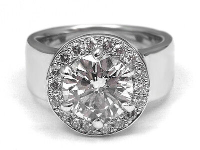 Wide Band Halo Diamond Engagement Ring F VVS2 - GIA