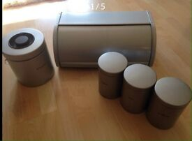 Branantia Bundle in Matt Silver Biscuit tin, bread bin and canisters