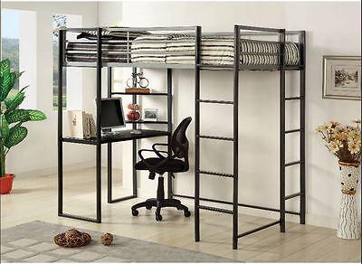 Student Loft Bed Frame with Desk for Kids Teens Adults Full Size Bunk Beds Black Full Size Bunk Bed Desk