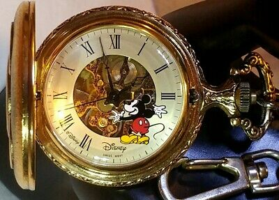 Disney Vintage Brass Mickey Mouse Wind-Up Skeleton Pocket Watch w/ Chain Working