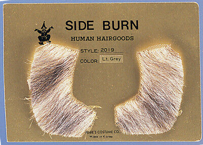 Light Grey Sideburns 100% Human Hair Pork Chop Side Burns Victorian - Porkchop Sideburns