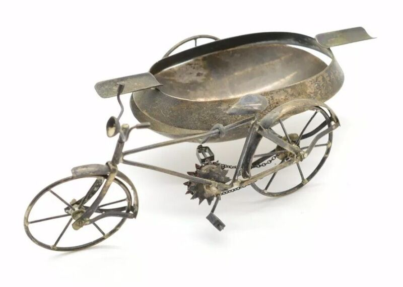 Vintage Sterling Silver Figural Ashtray Bicycle Open Sidecar Bucket Signed