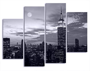 FRAMED BW With Blue Tint New York Night View On Quality Canvas Print Set Of 4