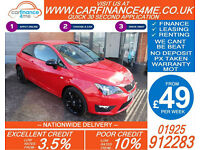 2015 SEAT IBIZA 1.4 TSI ACT FR EDITION GOOD / BAD CREDIT CAR FINANCE FROM 49 P/W