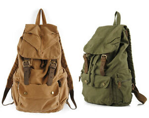 Mens-Vintage-Canvas-Leather-Hiking-Travel-Military-Backpack-Messenger-Tote-Bag