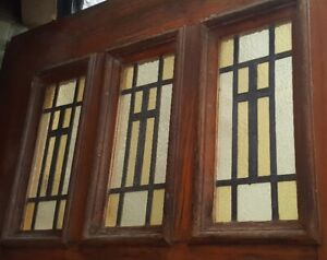 LOT 1 - Antique Oak CHURCH DOORS w/Stained Glass