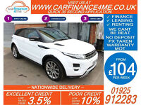 2012 RANGE ROVER EVOQUE SD4 DYNAMIC GOOD / BAD CREDIT CAR FINANCE FROM 104 P/WK