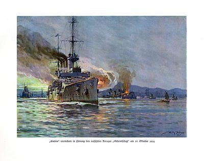 Emden vernichtet in Penang den russischen Kreuzer 1914 DEUTSCHE FLOTTE STÖWER 70