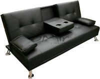 Mint condition black faux-leather sofa bed with cup holders