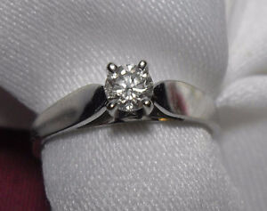 """14kt white gold .25ct """"Solitaire"""" Diamond Engagement Ring-Size 6"""