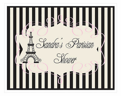 Parisian Themed Bridal Shower (Personalized Parisian Paris Theme Sign Bridal Shower Wedding)