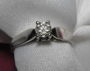 "14kt white gold .25ct ""Solitaire"" Diamond Engagement Ring Sz 6"