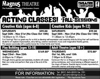 Fall Session Acting Classes at Magnus Theatre