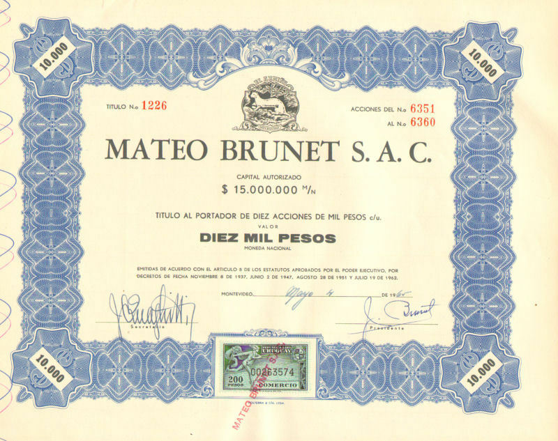 Mateo Brunet > 1965 Uruguay 10,000 pesos old bond certificate