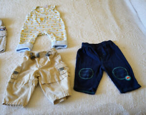Size 3 - 6 mo Boys spring and summer pants, romper sets, $1.00