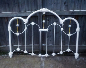 QUEEN WHITE IRON HEADBOARD AS IS DIY PROJECT - VERY HEAVY