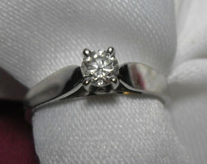 "14kt white gold .25ct ""Solitaire"" Diamond Engagement /Size 6"