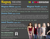 Winter Session Acting Classes at Magnus Theatre