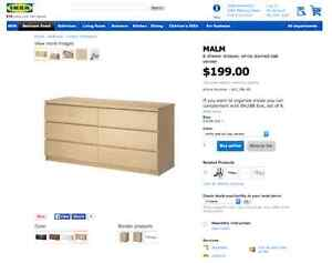 MALM 6 drawer dresser - white stained oak