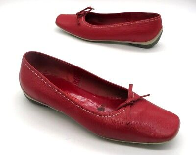 MIU MIU Size 36.5 Red Leather Slip On Flat Shoes