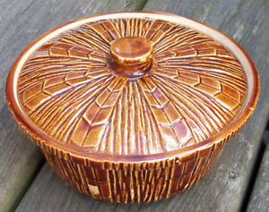 Vintage McCoy pottery casserole dish with lid