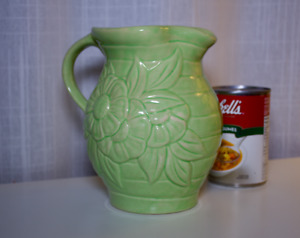 Water Jug - green ceramic in country style with flower design