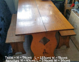 Antique style Refectory table & benches