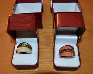 2 RINGS: MURANO Glass; Two-Tone 24k Gold inlaid/infused Rings