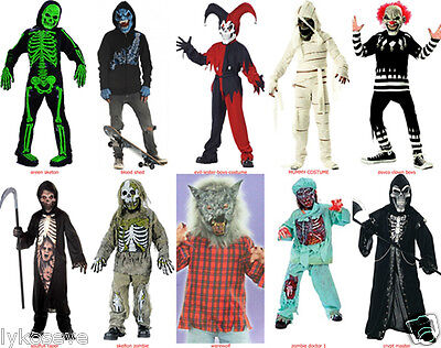 Skeleton Jester Costume (MUMMYS CRYPT MASTER SKELETONS ZOMBIES JESTERS REAPERS @MANY BOY COSTUMES)