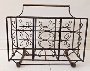 Antique Wrought Iron Newspaper Rack Holder with Wooden Handle