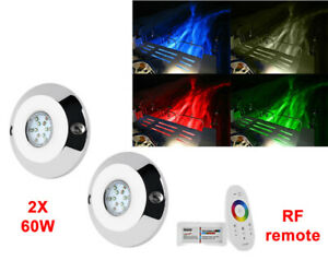 "2pcs 4"" 60W rgb led underwater light + RF remote"