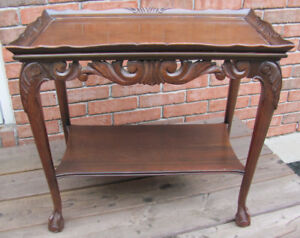 Antique Table with Glass Top