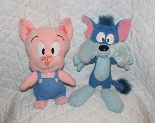 Vintage Tiny Toon Adventures Plush Hamton Pig & Furrball Cat Lot Playskool Toons
